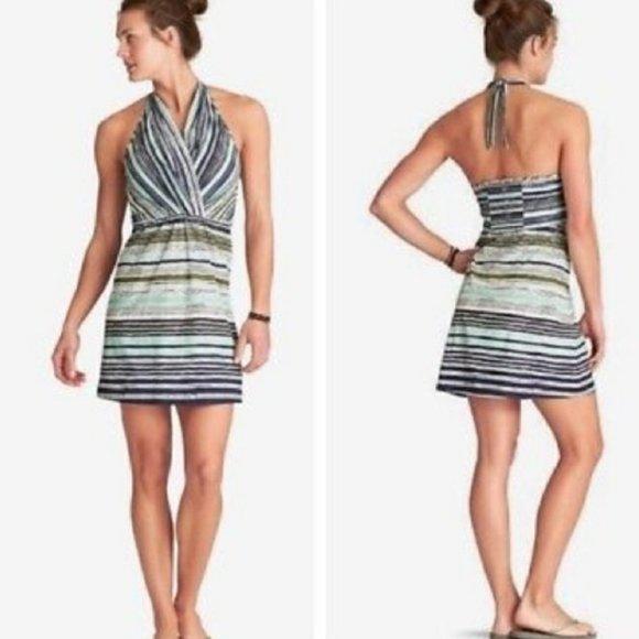 Athleta Go Anywhere Boho Stripe Halter Dress
